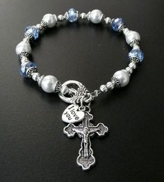 Genuine Czec Glass Pearl Austrian Crystal Antique Silver Rosary Bracelet