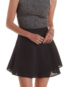 Paneled High-Waisted Skater Skirt: Charlotte Russe #skirt