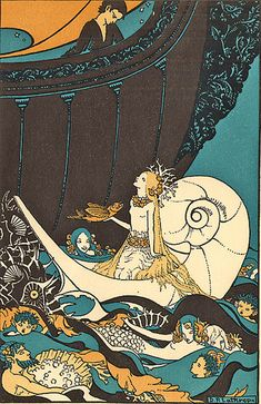 "cover illustration by Dorothy P Lathrop, for a children's book, ""Tales from the Enchanted Isles"", a selection of then-modern fairytales , pub. 1926, written by Ethel Gate."
