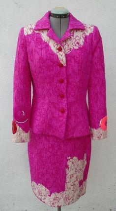 Vintage CHRISTIAN LACROIX Pink Floral Wool Silk Blend Skirt Suit Size 38/40 #ChristianLacroix #SkirtSuit