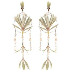 Valentino Embellished Earrings ($785) ❤ liked on Polyvore featuring jewelry, earrings, green, multi colored earrings, multi colored jewelry, tri color jewelry, feather jewelry and beading jewelry