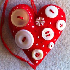 Red felt heart ornament with buttons  Ready to ship by Lucismiles