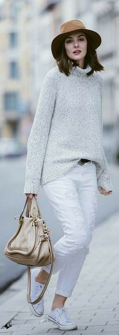 chunky sweater, white trousers. street casual @roressclothes closet ideas women fashion outfit clothing style