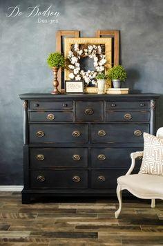 Tips For An Effortless Distressed Dresser #distressed #distresseddresser #paintedfurniture #blackfurniture #dresser