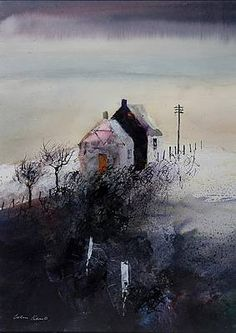 something about this pulls at me .Evening Cottages by British Contemporary Artist Colin KENT Landscape Artwork, Watercolor Landscape, Watercolor Art, Local Painters, Cool Drawings, Home Art, Contemporary Art, Art Gallery, Illustration Art