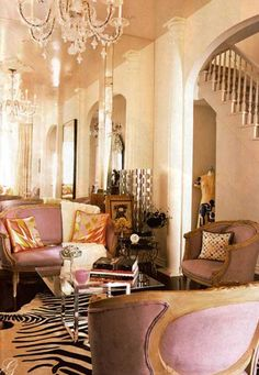 Glitz and glam in the living room with gold accenting. More decor ideas @BrightNest Blog