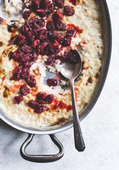 Effortless Vanilla Bean Rice Pudding with Saucy Tart Cherries {baked, so all hands off! so creamy, can be served warm or cold}