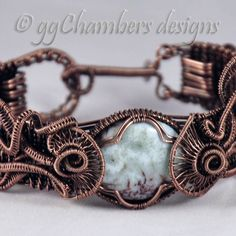 Antiqued Copper Woven Wire Helix Jellyfish Series Cuff Bracelet with Larimar Cabochon