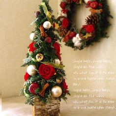 存在感のあるクリスマスのテーブルツリー|ローズツリー(レッド)