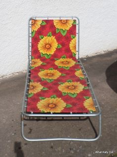 Vintage retro floral sunlounger - http://whatkatydid.biz/product/in-the-garden/vintage-retro-floral-sunlounger/