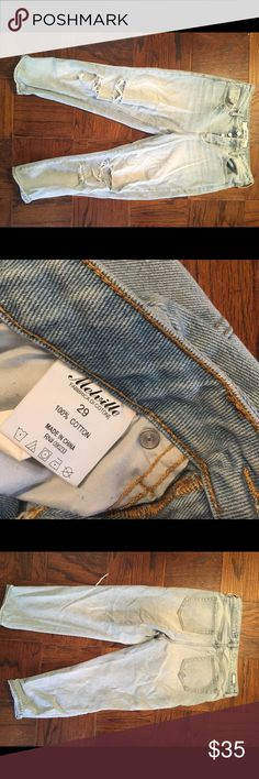 Brandy Melville, size 29 boyfriend jeans Gently used and much loved. Pre-distressed and ripped, but no other damage or fades. Great condition and light wash. Brandy Melville Jeans Boyfriend