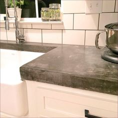 Polished Concrete Worktops With Belfast Sink And Pewter Bib Taps | Mooi |  Pinterest | Belfast Sink, Polished Concrete And Belfast