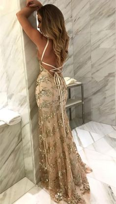 Mermaid Spaghetti Straps Light Champagne Prom Dress with Appliques, unique criss cross straps long prom dresses, glamorous v neck evening dresses with appliques Prom Dresses 2018, Backless Prom Dresses, Tulle Prom Dress, Prom Party Dresses, Sexy Dresses, Dress Party, Tulle Lace, Dress Lace, Prom Dresses Silk