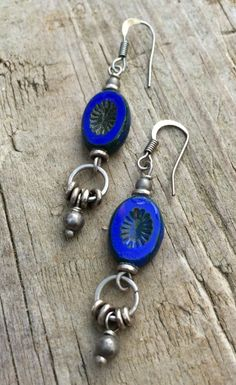 Cobalt Dangle Drop Earrings with Czech Glass and Antiqued Silver