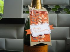 Wine Bottle Gift Tag Thanksgiving Tag by apaperaffaire on Etsy