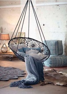 Hanging chair - Hand Crafed By Artisians In India blue #UniquelyCrafted
