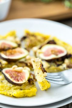Caramelized Shallot and Fig Polenta Pizzas with Thyme and Pine Nuts