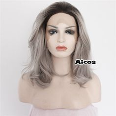 Heat Resistant Lace Front Wig Synthetic Hair Natural Wavy Ombre Black /Gray+Comb…