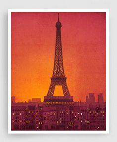 New day - Paris illustration Art Print Poster Eiffel tower Paris art Wall art Paris home decor Living room art Gift ideas for her Orange art