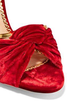 Charlotte Olympia - Broadway Metallic Leather-trimmed Velvet Sandals - Claret - IT36.5