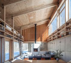 New York architect Maria Milans del Bosch has designed a house and studio for herself in the Catskills with interventions that are mindful of the natural setting. The Spanish architect designed the. Loft Interior, Interior Design, White Built Ins, Tiny House, Concrete Wood, Storey Homes, Ground Floor Plan, Upstate New York, Dezeen