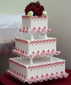 Cake boss wedding cakes are a type of wedding cake often used by many people. The characteristic of the wedding cakes is that they consist of many piles Cake Boss Wedding, Square Wedding Cakes, Amazing Wedding Cakes, Square Cakes, White Wedding Cakes, Wedding Cake Designs, Amazing Cakes, Red Wedding, White Cakes
