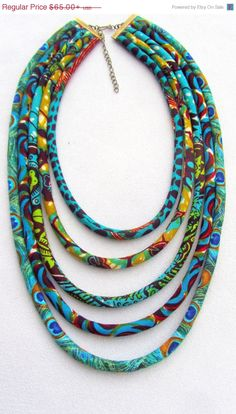 SALE NOW Turquoise necklace, african fabric necklace,  African wax print ,  Bohemian necklace, Tribal necklace, statement necklace,