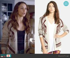Spencer's fringed cardigan on Pretty Little Liars.  Outfit Details: http://wornontv.net/49670/ #PLL