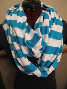 Just Between You & Me (TM) Nursing Scarf - Turquoise/White. $23.50, via Etsy.