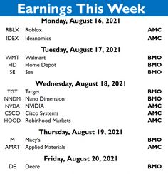 PLACEMENT: Earnings this week ! Cisco Systems, Applied Materials, Asset Management, Happy Sunday, Finance, Investing, How To Apply, Management, Silver