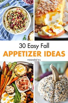 A round-up of 30 easy fall appetizer ideas, perfect for autumn entertaining! Sweet and savory dishes for Halloween, Thanksgiving, housewarmings, and much more. #easyappetizers #appetizerideas #fallappetizers Fall Appetizers, Appetizer Ideas, Appetizer Recipes, Halloween Appetizers, Fall Dinner Recipes, Fall Recipes, Healthy Recipes, Healthy Food, Sweet Potatoe Bites