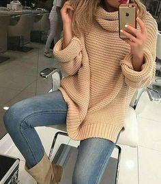 #winter #fashion /  Tan Oversized Knit   Skinny Jeans