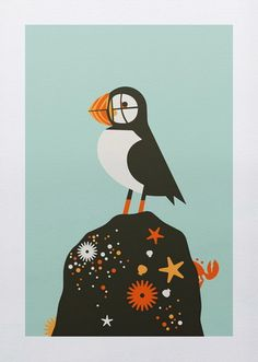 Puffin art print  hand made screen print on heavy paper  print of an Atlantic Puffin from the state of Maine  print measures 10 inches x 14 inches  artist: bee things