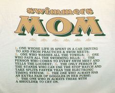 The stopwatch and taking splits made me laugh! Every mom should know their swimmer's split times on distance events. Doing this for my mom Swim Team Mom, Swim Mom, Keep Swimming, Girls Swimming, Swimming Humor, Swimmer Problems, Competitive Swimming, Thanks Mom, Sports Mom
