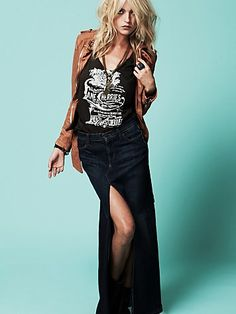 Edgy rock chic outfit - tan leather jacket, rocker tee, long denim maxi with thigh high slit... Babe.