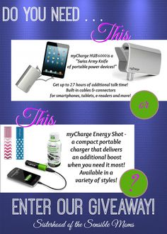 We've Got The Power! myCharge Giveaway! - Sisterhood of the Sensible Moms