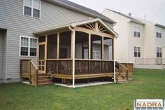 screened in decks pictures | Screened Enclosures - Wooden screen room with sunburst detail in the ...