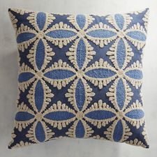 Embroidered Denim Tile Pillow
