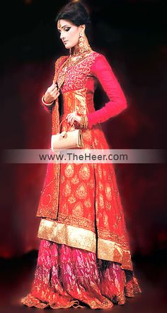BW6420 Deep Carmine Pink & Awesome Color Banarasi Chiffon & Crinkle Chiffon Sharara Carmine Pink Aviva New Orange Red Anarkali Dresses, Buy Colorful Anarkali Pishwas Online, Latest Colorful Anarkali 2011 New Orange Red Anarkali Dresses, Buy Colorful