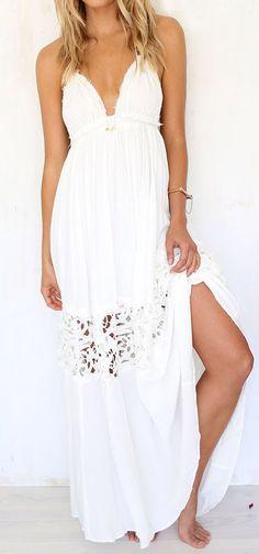 Halter lace maxi dress