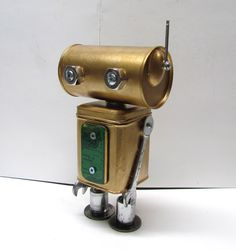 Found Object Robot Sculpture / Assemblage Robot Figurine - One of a kind unique creation - Unique Gift by VINTAGEandMOREshop on Etsy https://www.etsy.com/listing/261549983/found-object-robot-sculpture-assemblage