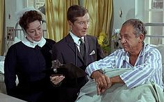 Hattie Jacques as Matron, Kenneth Williams as Dr Tinkle and Sid James as work shy Charlie Roper in Carry On Doctor.