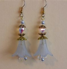 Flower Time Petal Earrings 2 - lucite petal earrings with glass beads and Swarovski crystals.