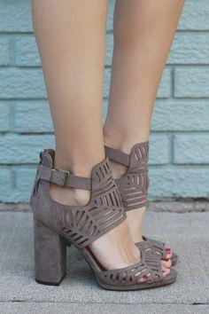 Taupe Perforated Buckle Ankle Peep Toe Heels Ellie-27