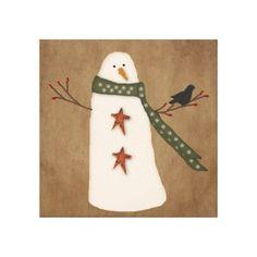 Primitive Canvas Painting Ideas | Primitive Country Snowman Stretched Canvas Print | Zazzle