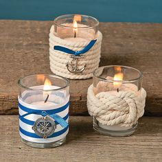 Nautical Votive Holder Décor Idea, Craft your own reception table accents with this Nautical Wedding Votive Holder Idea. Add battery-operated tea lights to bring a warm and inviting amb. Nautical Candle Holders, Nautical Candles, Votive Holder, Nautical Theme Decor, Nautical Party, Coastal Decor, Nautical Craft, Nautical Knots, Seashell Crafts