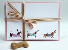 Sausage dog cards dachshund cards sausage dog by JacMacDesigns Correspondence Cards, Send A Card, Dog Cards, Complimentary Colors, Blank Cards, Party Invitations, How To Draw Hands, Stationery, Greeting Cards