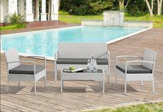 Lounge-Set aus Polyrattan hellgrau mit dunkelgrauen Auflagen
