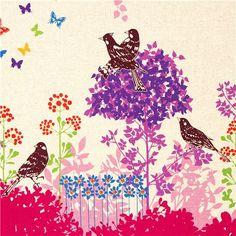 echino canvas fabric Wish pink birds flowers