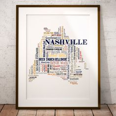 Nashville Typography Map Art Print Nashville Map by floatingmap